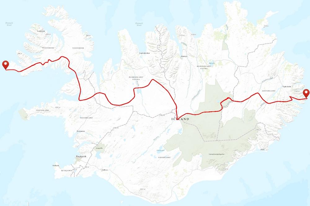 trawers islandii wschód zachód